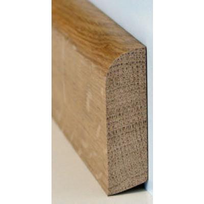 Basic Massivholzsockelleiste Eiche 20/80 (gerade-oben gerundet) lackiert - 20x80x2000-3000 mm