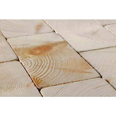 Holzpflaster Kiefer Design gealtert - Detailbild in weiß geölter Oberfläche