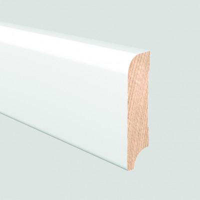 TrendLine Massivholz-Sockelleiste Kiefer weiß deckend 16/58 (gerade/oben gerundet) - 16x58x2400 mm