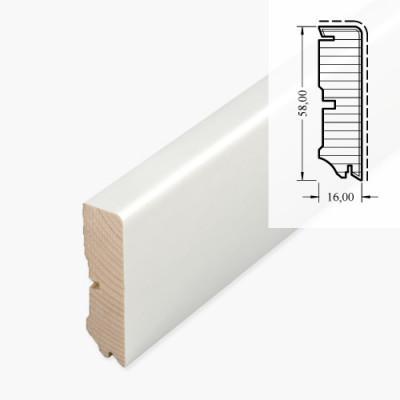 MDF-Sockelleiste 531 UM MDF - weiß RAL 9010 / 8/13 x 58 x 2700 mm