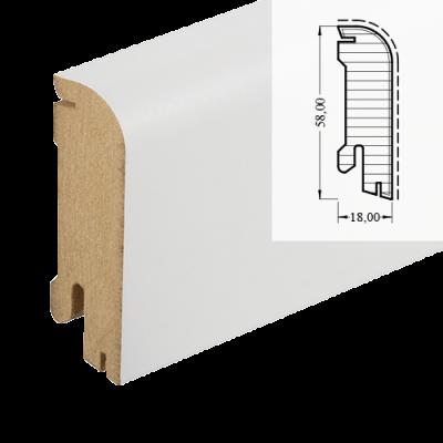MDF-Sockelleiste Classic SL 609 - weiß foliert RAL 9010 / 18 x 58 x 2700 mm
