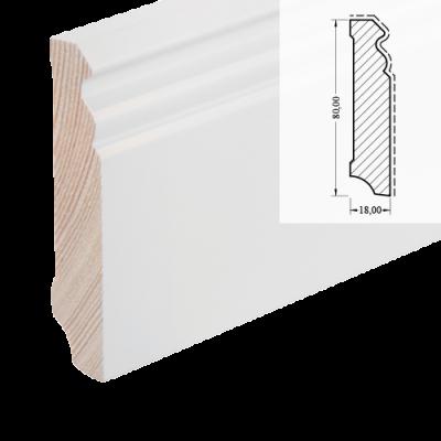 MDF-Sockelleiste 625 (Altberliner Profil) - weiß foliert RAL 9010 / 18 x 78 x 2700 mm