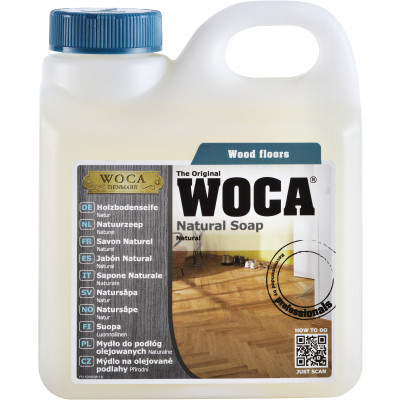WOCA Holzbodenseife natur für die fachgerechte Pflege von Trendfloor Böden  - 320-400 qm pro Liter / 1 Liter