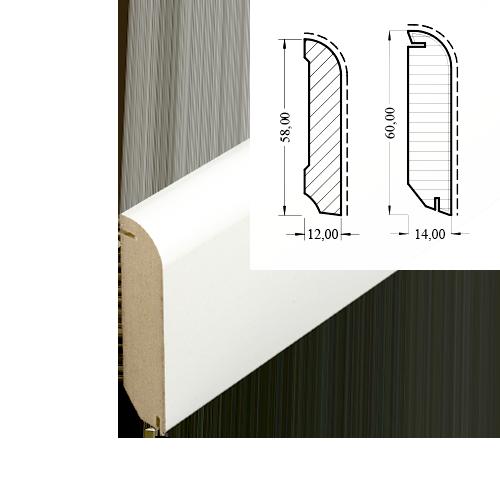 mdf leiste 605 wei 13 x 60 mm wei sockelleisten. Black Bedroom Furniture Sets. Home Design Ideas
